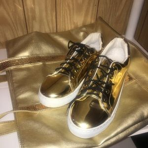 Gold sneakers and tote bag